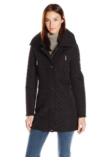 Calvin Klein Women's Quilt Jacket with Faux Fur  L