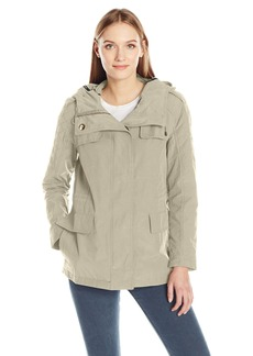 Calvin Klein Women's Rain Anorak Cotton Jacket with Snap and Zip Closure  L