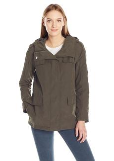 Calvin Klein Women's Rain Anorak Cotton Jacket with Snap and Zip Closure  S