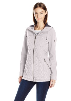 Calvin Klein Women's Rain Anorak Jacket with Soft Shell Combo Quilt  M