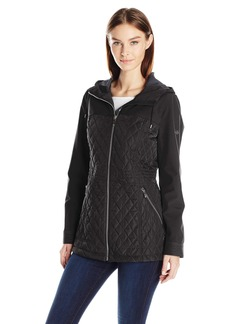 Calvin Klein Women's Rain Anorak Jacket With Soft Shell Combo Quilt  XS