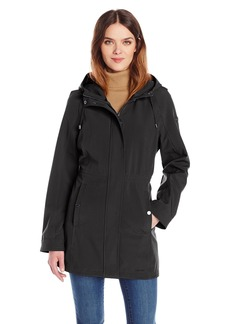 Calvin Klein Women's Rain Trench Coat Soft Shell Jacket with Hood  M
