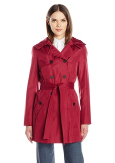 Calvin Klein Women's Rain Trench Double Breasted Jacket with Belt and Hood  L