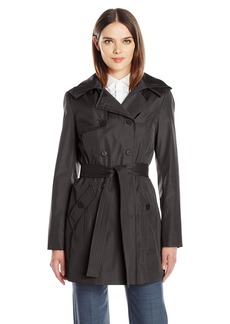 Calvin Klein Women's Rain Trench Double Breasted Jacket with Belt and Hood  S