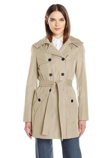 Calvin Klein Women's Rain Trench Double Breasted Jacket With Belt and Hood  XL