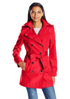 Calvin Klein Women's Rain Trench Double Breasted Jacket with Belt  S
