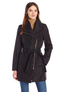 Calvin Klein Women's Rain Trench Zip Cotton Jacket with Belt  M