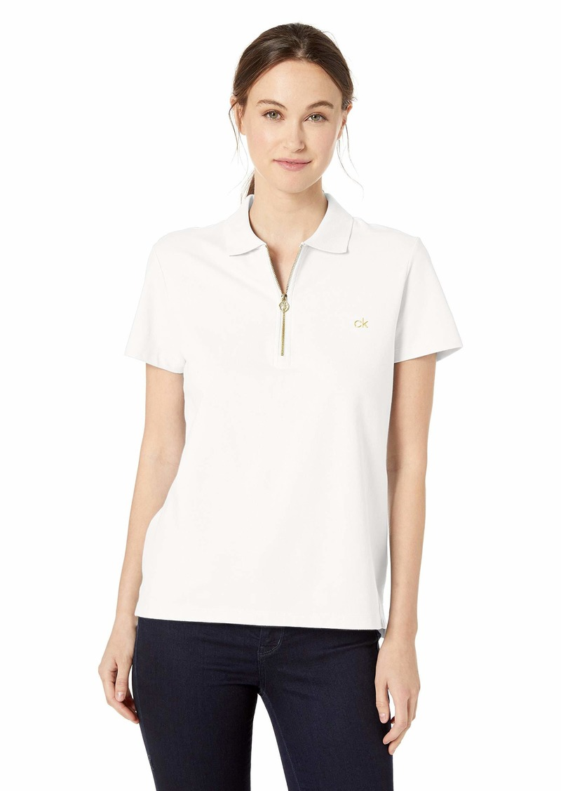 Calvin Klein Women's Regular Fit Short Sleeve Quarter Zip Polo
