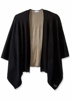 Calvin Klein Women's Reversible Solid Shawl black/heathered almond O/S