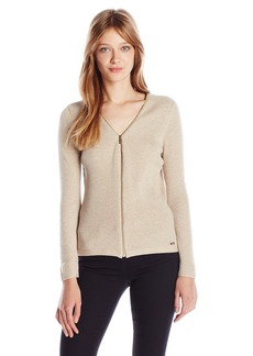 Calvin Klein Women's Ribbed Zipper-Front Cardigan Sweater  S