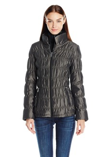 Calvin Klein Women's Ribbed Collar Puffer Jacket  S