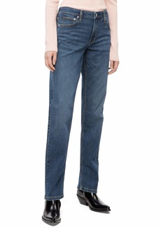 Calvin Klein Women's Rise Straight Fit Jeans Hamptons Blue mid 30X28