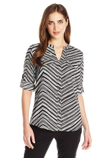 Calvin Klein Women's Crew Neck Roll Sleeve Blouse  X-Small