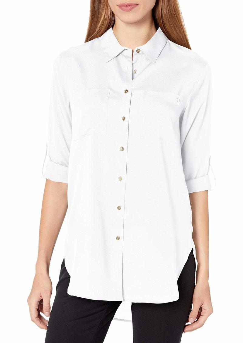 Calvin Klein Women's Roll Sleeve Tunic Blouse (Regular and Plus Sizes)