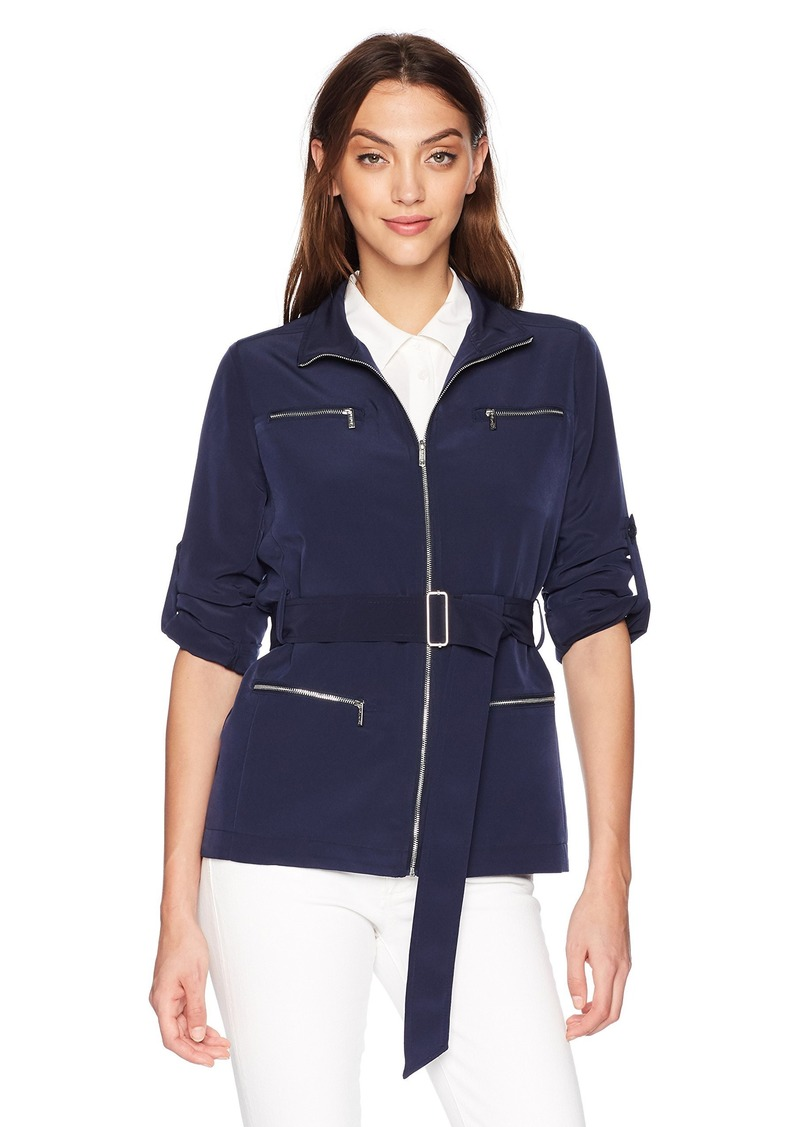 Calvin Klein Women's ROLL Sleeve with Collar and Belt  L
