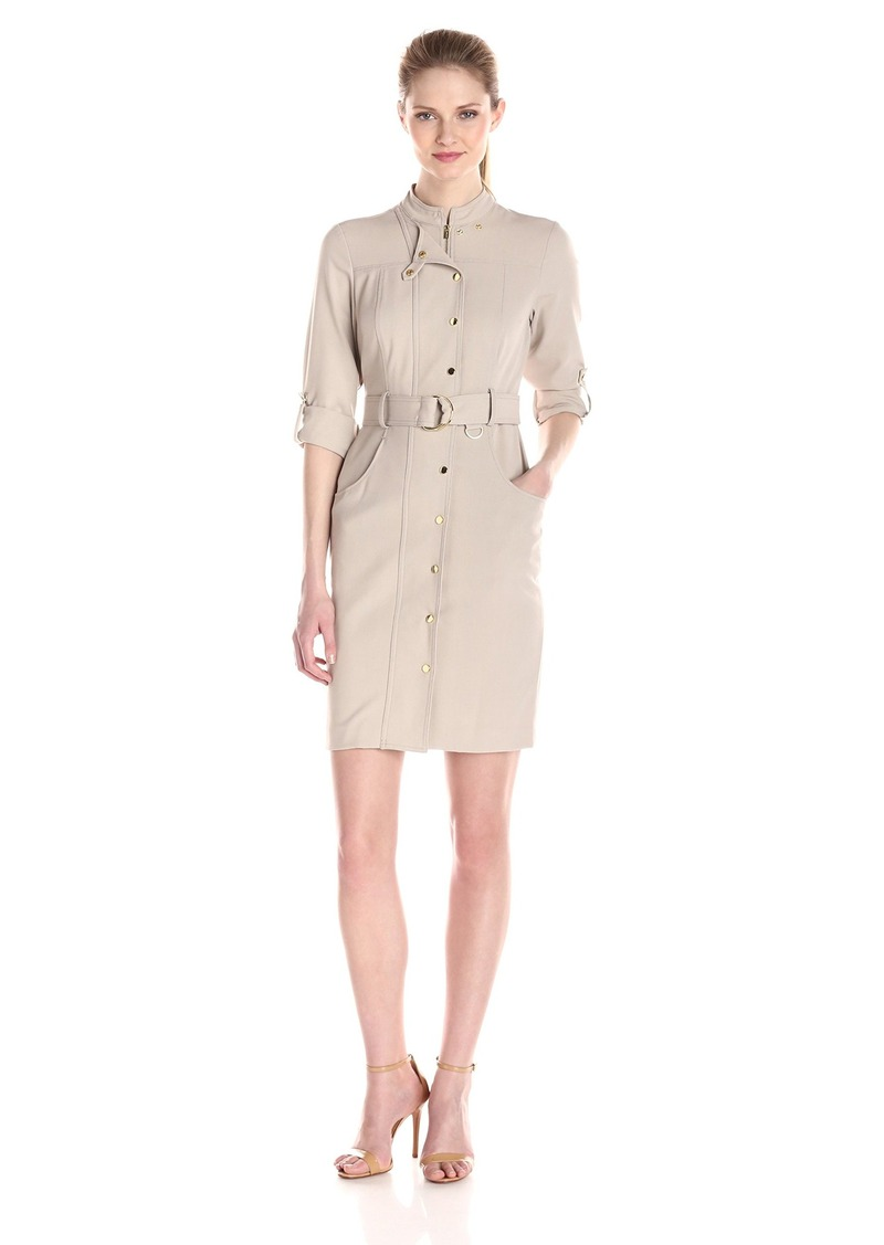 Calvin Klein Women's Roll Up Sleeve Shirt Dress