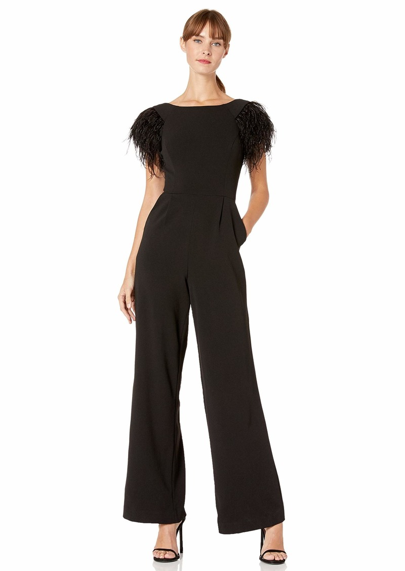 Calvin Klein Women's Round Neck Jumpsuit with Feather Trim at Sleeve