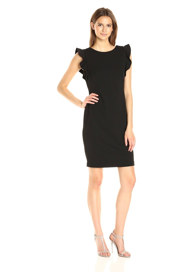 Calvin Klein Women's Round Neck Sheath Dress with Flutter Sleeve and Low Back
