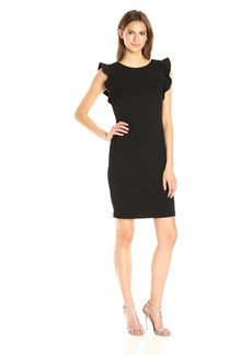 Calvin Klein Women's Round Neck Sheath Dress With Flutter Sleeve and Low Back Black