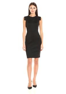 Calvin Klein Women's Round Neck Sheath Dress with Stylized Armhole