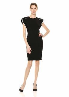 Calvin Klein Women's Round Neck Sheath with Contrast Piping Dress