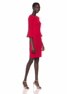 Calvin Klein Women's Round Neck Sheath with Pearl Inset Bell Sleeve red