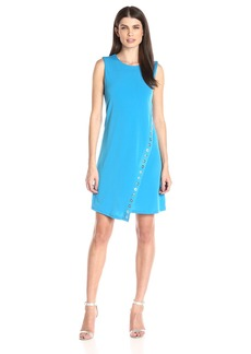 Calvin Klein Women's Round Neck Sleeveless a-Line Dress with Heat Set Trim Detail
