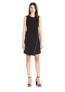 Calvin Klein Women's Round Neck Sleeveless A-Line Dress with Heat Set Trim Detail