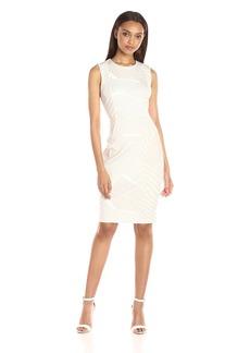 Calvin Klein Women's Round Neck Sleeveless Scuba Sheath Dress in Abstract Print