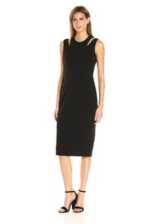 Calvin Klein Women's Round Neck Sleeveless Sheath with Cut Out At Shoulder