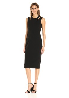 Calvin Klein Women's Round Neck Sleeveless Sheath with Cut Out At Shoulder Black