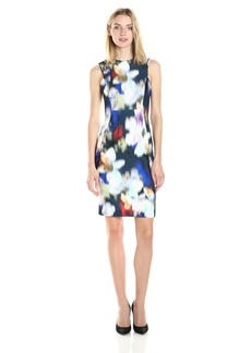 Calvin Klein Women's Round Neckline & Square Armhole Printed Scuba Sheath Dress