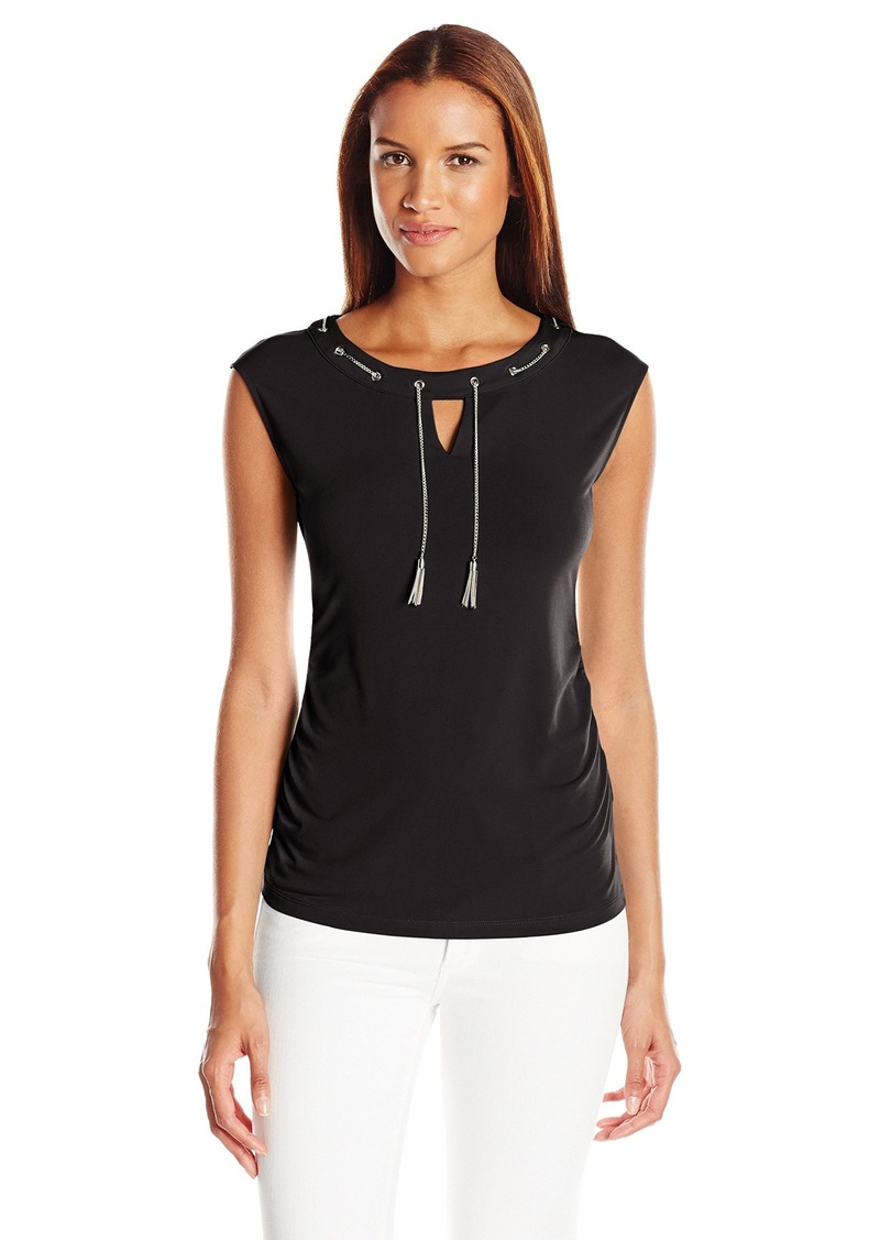 Calvin Klein Women's Ruched Cap Sleeve with Chain