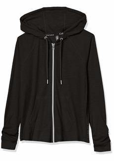 Calvin Klein womens Ruched Long Sleeve Zip Front Hoodie
