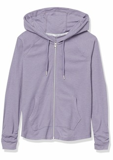 Calvin Klein Women's Ruched Long Sleeve Zip Front Hoodie OUT-SPELLBOUND