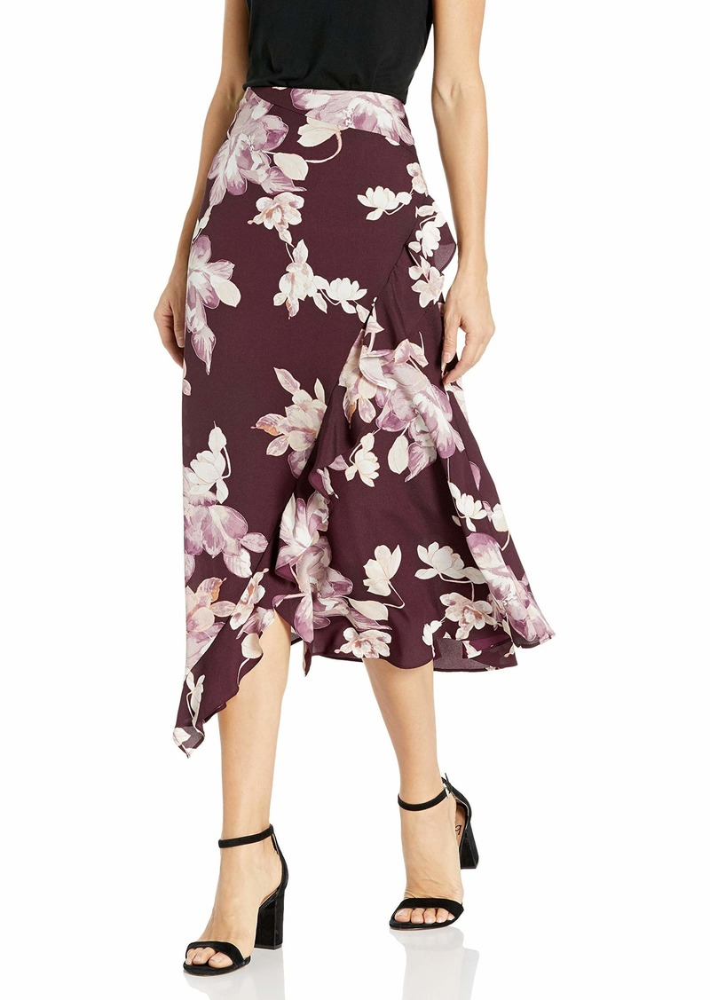 Calvin Klein Women's Ruffle Angled Bottom Skirt aubergine multi