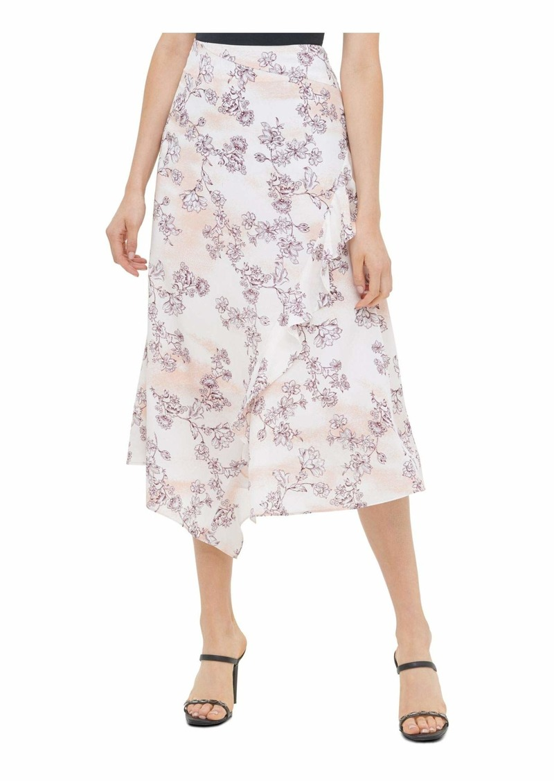 Calvin Klein Women's Ruffle Angled Bottom Skirt aubergine/Blush