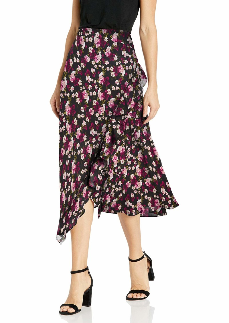 Calvin Klein Women's Ruffle Angled Bottom Skirt Blush/Black