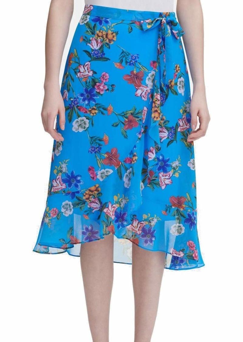Calvin Klein Women's Ruffle Front Skirt with TIE