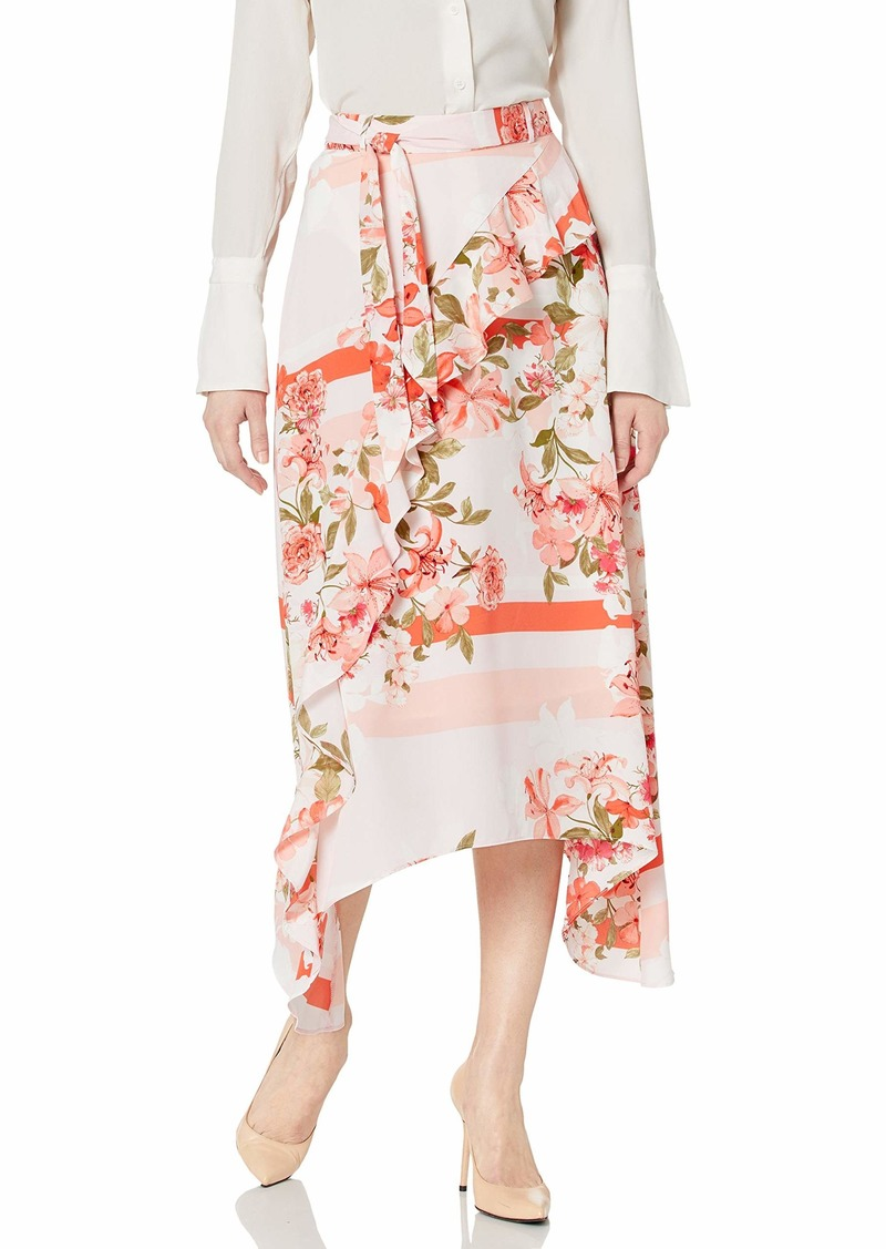 Calvin Klein Women's Ruffle Front Skirt with Tie Belt