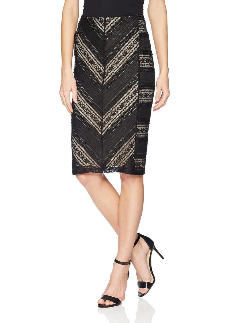 Calvin Klein Women's Ruffle LACE Pencil Skirt