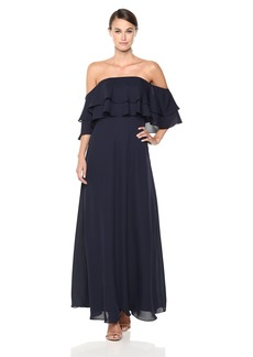 Calvin Klein Women's Ruffle Overlay Off-The-Shoulder Gown