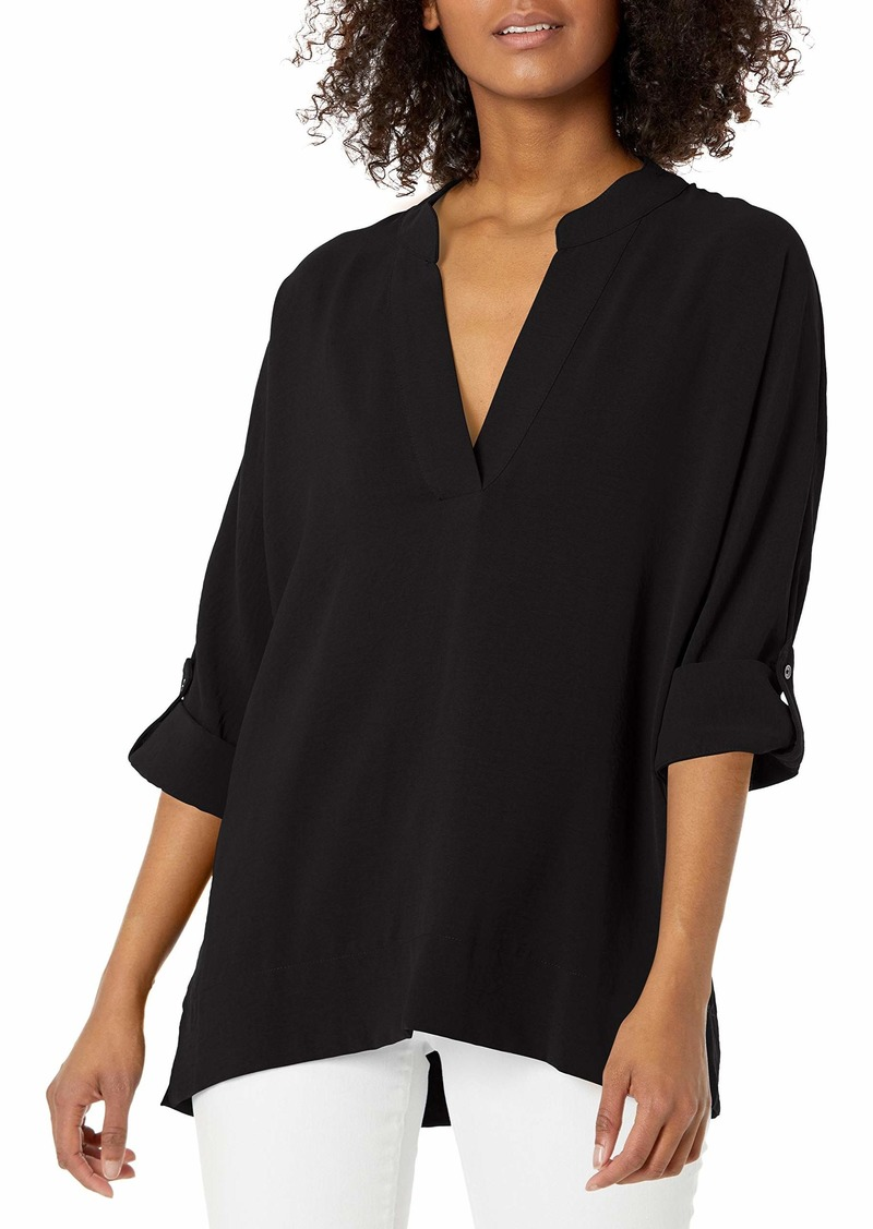 Calvin Klein Women's Ruffle Sleeve Blouse with V Neck