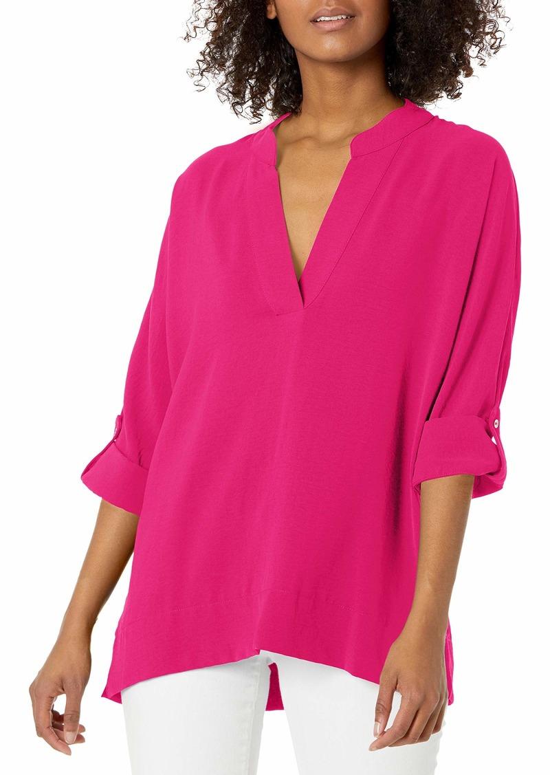 Calvin Klein Women's Ruffle Sleeve Blouse with V Neck