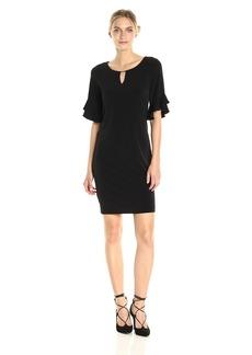 Calvin Klein Women's Ruffle Sleeve Dress With Hardware  S