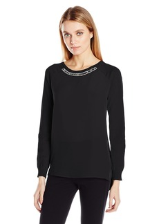 Calvin Klein Women's L/s Embellished Neck Sweater  L
