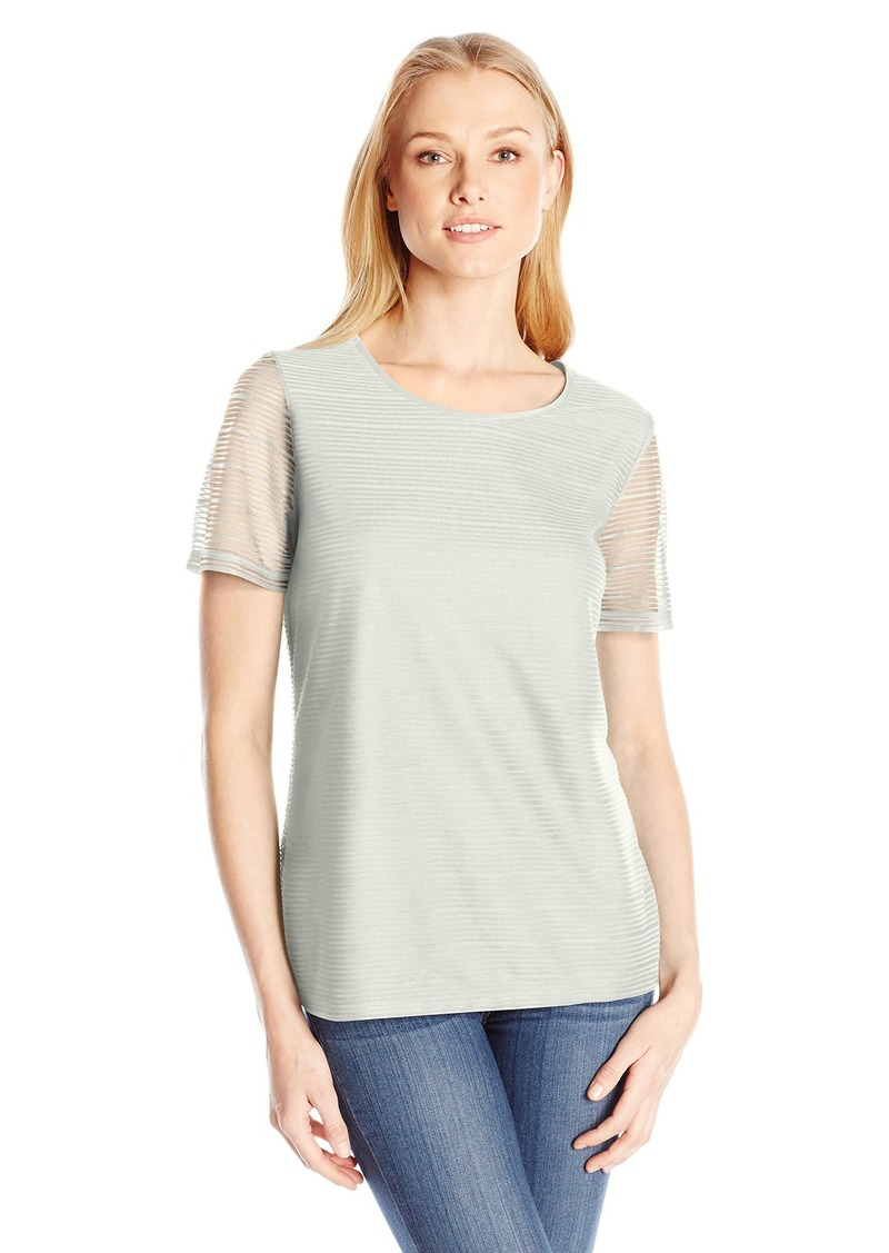 Calvin Klein Women's S/s Sheer Stripe Top  M