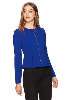 Calvin Klein Women's Scuba Crepe Jacket with Studs