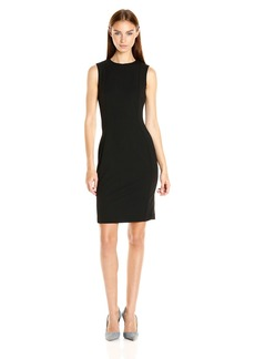 Calvin Klein Women's Scuba Crepe Sleeveless Princess Seam Sheath Dress