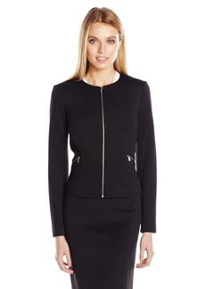 Calvin Klein Women's Scuba Jacket with Center Zipper and Pockets